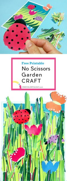 A fun craft activity for toddlers and younger kids- a no scissors garden craft. Rip up the patterned paper to make organic grass shapes, flowers and butterflies than glue them on to create a beautiful collage. Let your toddlers, preschoolers and even older kids be creative. Great art activity for Earth day.