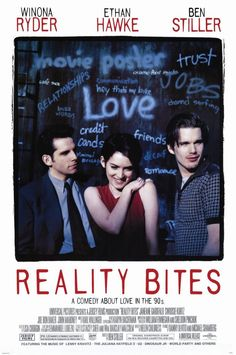 Reality Bites , starring Winona Ryder, Ethan Hawke, Janeane Garofalo, Steve Zahn. Generation X Graduates face life after college with a filmmaker looking for work and love in Houston. #Comedy #Drama #Romance