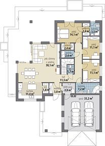 Miriam V - Rzut parteru Modern Bungalow Exterior, House Construction Plan, Bungalow House Plans, Living Room Designs, Floor Plans, How To Plan, Moroccan, Collection, Traditional Homes