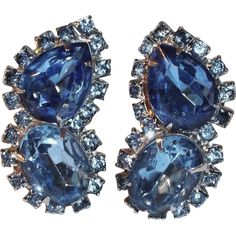 Large Sparkling Deep Blue Rhinestone and Silverstone Clip Earrings - Vintage Costume Jewelry under $25 at Ruby Lane www.rubylane.com @rubylanecom