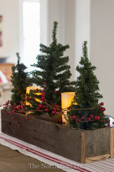 Small faux Christmas trees and pillar battery candles wrapped with red grapevine…