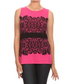 Loving this Fuchsia & Black Lace-Panel Keyhole Tank on #zulily! #zulilyfinds