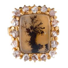 """Antique """"Picture Frame"""" Moss Agate and Rose Cut Diamond Ring 