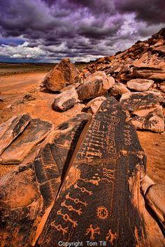 Petroglyphs on Navajo Reservation Colorado Plateau, Arizona Hopi culture symbols clan symbols