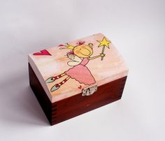 Small trunk for little princess. Made of wood. Painted with non-toxic acrylic paints. Decorated with decoupage technique, finished with glossy varnish. Painted Wooden Boxes, Small Wooden Boxes, Hand Painted, Arte Country, Country Crafts, Boys Toy Box, Tooth Fairy Box, Ceramic Boxes, Decoupage Box