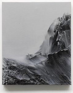 "Abstract black and white painting, mountains, ""zwischen himmel und erde 71"" by Conrad Jon Godly, 2013 www.conradjgodly.com"