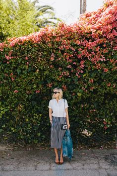 Jacey Duprie, Damsel in Dior. Striped maxi skirt #ladylike #streetstyle