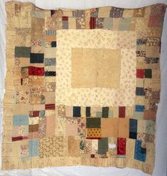 I could look at this all day!  Wondering - what were the original colors?  are those line drawn border sections embroidered, inked, or printed?  I the large ecru frame a patch?  Or was it to be a sampler style inset?  The quilt obviously grew - what stages of life are represented by the additions?  Why were they made off center?  Mary (Good) Best. Circa 1800 - 1825