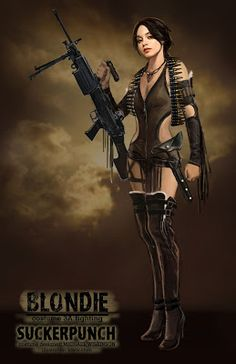 """Here are some concept work Kevin have done for """"Suckerpunch"""" & """"Bulletstorm"""". Science Fiction, Badass Movie, Mileena, Sucker Punch, Steampunk Costume, Movie Poster Art, Suckers, Hollywood Celebrities, Fantasy Girl"""
