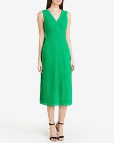 Pleated midi dress - Dark Green | Dresses | Ted Baker