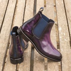 The Chelsea Boot Classic in Italian Raw Crust Leather with a Purple and Denim Blue Hand Patina - Robert August Apparel Slip On Boots, Dress With Boots, Calf Leather, Leather Shoes, Me Too Shoes, Men's Shoes, Custom Design Shoes, Goodyear Welt, Polished Look