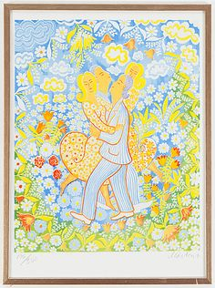 Mårten Andersson: Dansande par, färglitografi, 62x45 cm, edition 196/360 - Bukowskis Market 4/2016