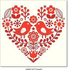 Valentine's Day folk pattern with birds and flowers - Finnish inspired - Artwork - Art Print from FreeArt.com
