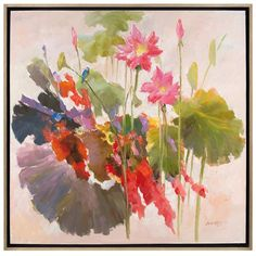 "This stunning floral piece is a brilliant show of color. This original oil painting by artist Wu Tao is surrounded by a silver edged wood molding. Dimensions: - Overall: 51"" w x 2"" d x 51"" h"