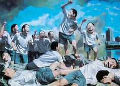 """Freedom Leading the People"" by Yue Minjun, 1996"