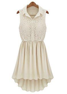 Chic High Low Sheared Waist Apricot/Ivory Dress