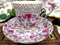 Japanese Tea Cup and Saucer Chintz Roses Pattern Teacup