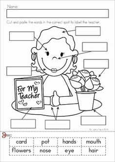 Kindergarten Valentine's Day Math and Literacy Worksheets & Activities No Prep. A page from the unit: label the teacher