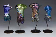 """Mini Torsos"" Art Glass Sculpture Created by Karen Ehart"