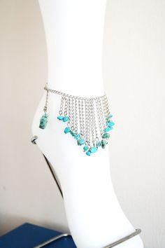 Unique Genuine Turquoise Chain Anklet  Gemstone #bracelet #men #yoga #barefootsandal  #anklet #scarf #floral #collar  #necklace #accessories #women  #beach #wedding #shoes #gloves