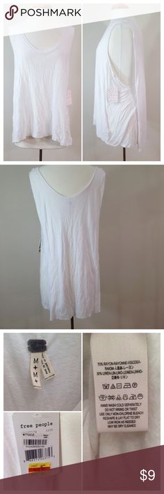 NWT Free People summer tank SUMMER DEAL This tank is perfect for a hot summer day! Such a deal at $9.00! Originally bought at Macy's. Length is 28 inches from shoulder to hemline. Semi see through! There is a tiny, hard to see snag on the front, pictured in the fourth picture. Comment with questions, I will happily answer. Bundle for an extra 10% off!! Would look gorgeous with a lacy bralette underneath! Free People Tops Tank Tops
