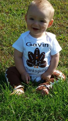 Check out this item in my Etsy shop https://www.etsy.com/listing/252040467/boy-1st-first-thanksgiving-football