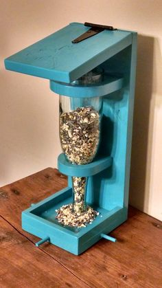 Wine Bottle Bird Feeder by onyourwallwoodart on Etsy
