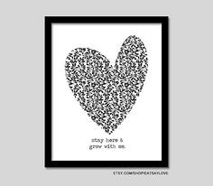 heart graphic print, grow with me, black and white print, black and white decor, anniversary gift, sentimental print, black and white decor