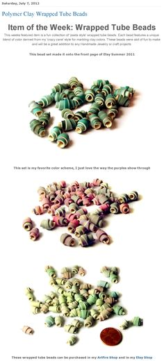 Item of the Week featuring Polymer Clay Wrapped Tube Beads