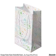 Crazy Cute Cats Colorful Cartoon Birthday Party Small Gift Bag by SugarPawPrints on Zazzle