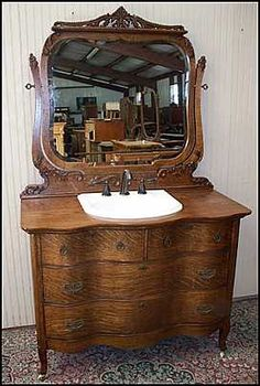 Early 1900s Antique Oak Dresser With Mirror Antiques