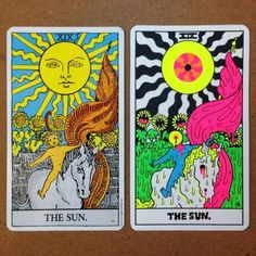 The King of Neon, Drippy Psychedelia, Oliver Hibert recently released his version of both the Minor and Major Arcana Tarot Cards. Oliver Hibert has le. Oliver Hibert, Tarot Tattoo, The Sun Tarot, Psychadelic Art, Psychedelic Drawings, Trippy Painting, Simple Canvas Paintings, Card Drawing, Hippie Art