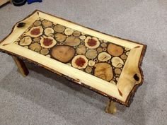 Log Slice Coffee Table with Sassafras White door LiveEdgeWoodcrafts