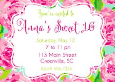 Sweet Sixteen Lilly Pulitzer Printable Invitation On Etsy 1000 Invitations