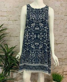 4937e1192b5c Max Studio Blue & White Floral Print Sleeveless Scarf Shift Dress Size S  #MaxStudio #