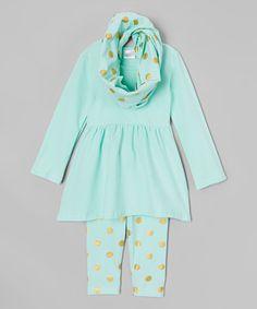 Little Miss Fairytale Mint & Gold Dot Dress Set - Infant, Toddler & Girls | zulily