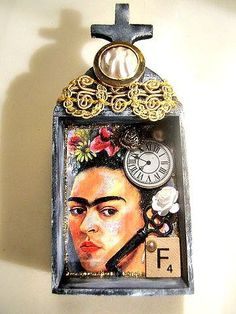 Frida Kahlo mixed media assemblage wood nicho shrine diorama miniature art OOAK on Etsy, €48,89