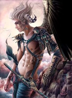 """This character is very similar to Branan in """"The Tiefling"""" by Barbara T. Cerny. He is angel kissed yet devil touched..."""