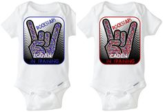 "ROCKSTARS In Training: Identical Twins or Fraternal Twins boys - Distressed Personalized Name baby boy onesies (set of 2) with a paint splattered ""rocker hand"" - in Blue & Red!  Preemie Sizes available - get yours here! https://www.etsy.com/shop/LittleFroggySurfShop"