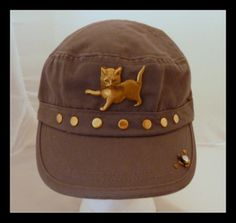Blue Military Hat with Cat and Studs  #accessories #hats #designer #cat #militaryhat #bluehat #thecraftstar #shopping