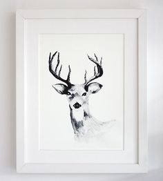 Deer Framed Print - Vouchers, gifts & baby clothing made from natural fabrics......
