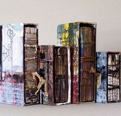 """Linda Welch """"Concealed Within"""" artist books Handmade Journals, Handmade Books, Handmade Art, Altered Books, Altered Art, Collages, Collage Book, Accordion Book, Drawing Journal"""
