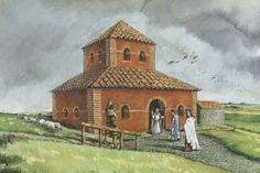 Reconstruction of the Romano-British temple (Drawing by Peter Dunn)