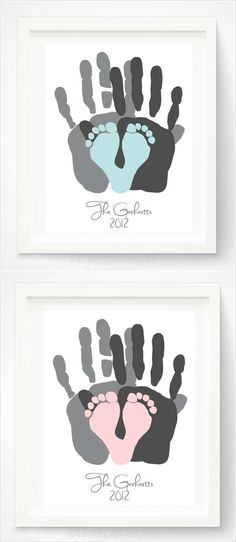 Mom & Dad handprints with baby's footprints in a heart! Uses your family's hand prints and baby's feet to make a custom family portrait! Art from PitterPatterPrint