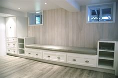 Rambling Renovators: The Basement: First Look! Martha Stewart base cabinets from Home Depot for banquette.