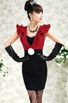 Fashion Patchwork V Neck Tank Sleeveless Black-red Spandex  Sheath Mini Dress