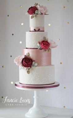 Blush & Burgundy, Rose Gold & Lace Wedding Cake