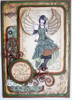 vintage distress steampunk card