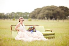 Birdy Mae Sofa featured on Green Wedding Shoes- Traveling Musician Wedding Shoot; Decor by Wish Vintage Rentals, Photography by Papered Heart Photography, Dress by Carol Hannah, Hair & Makeup by Blend True, Florals by Molly Voth