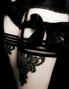 wow - bows, satin, lace, stripes... all in black <3 this  #lingerie